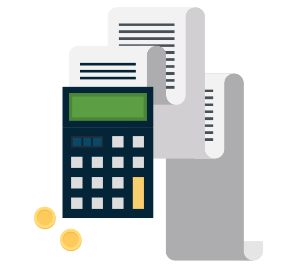 Icon of a calculator with paper tape and coins